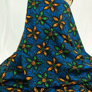Nigerian Fabric--African Wax Print Fabric--Ankara Fabric--Turquoise Blue with Yellow and Green Flowers--African Fabric by the HALF YARD