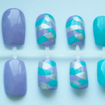 Teal, Purple, and Silver Braided Fake Nails - False, Artificial, Acrylic, Press-On