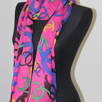 Pink chiffon scarf-Chiffon scarf-Printed scarf-Mother days Gift-Gift ideas-Fashion scarf-Chiffon shawl-Women Accessories-Spring Scarf-