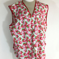 Vintage Apron Smock Apron Strawberry Apron Smock Red Pink Apron 1960s Apron Fruit Apron Smock Red Strawberry Apron Smock Plus Size