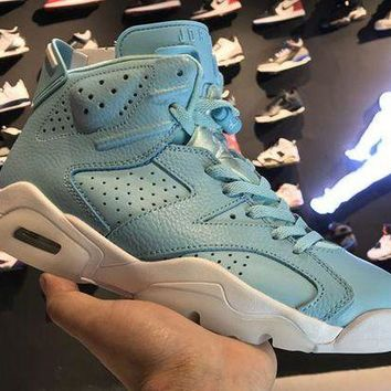 DCCKL8A Jacklish Cheap Girls Air Jordans 6 Retro Grade School Pantone Still Blue-white 2017