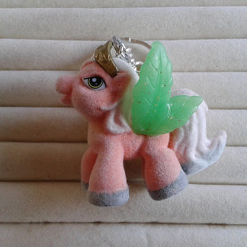fuzzy pink pony  with crown  toy figure keychain keyring