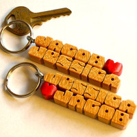 Cherry Wood Names - Love Keychains - SPECIAL - Pair of His and Hers - Handmade to Order