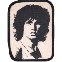 Doors Men's Jim Morrison 2 Screen Printed Patch Black