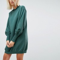ASOS Oversized Sweat Dress with Balloon Sleeve at asos.com