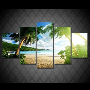 Canvas Prints Paintings Wall Art Posters 5 Pieces Beach Palm Tree Group Seascape Pictures For Living Room Home Decor Framework