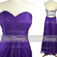 Strapless Sweetheart with Crystal and Sequined Purple Chiffon Long Prom Dresses, Wedding Party Dresses, Evening Gown, Homecoming Dresses
