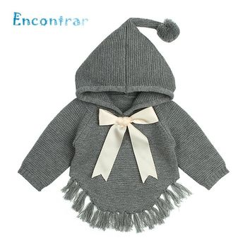 Encontrar Baby Bow Decoration Knitted Cardigan Girls Winter Cute Clothes Kids Tassel Hooded Long Sleeve Sweater 6M-24M,DC502