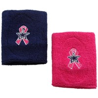 Dallas Cowboys BCA Team 2-Pack Wristbands - Navy Blue/Pink