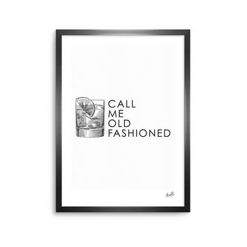 Old Fashioned - Black White Vintage Typography Digital Framed Art Print