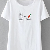 White Letters Rabbit Carrot Embroidery Short Sleeve T-shirt