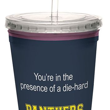 Tree-Free Greetings cc34535 Panthers College Football Fan Artful Traveler Double-Walled Cool Cup with Reusable Straw, 16-Ounce