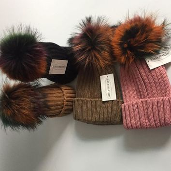 Fashoin real fox fur pom poms 15cm ball Keep warm winter hat for women girl 's wool hat knitted beanies cap thick female cap