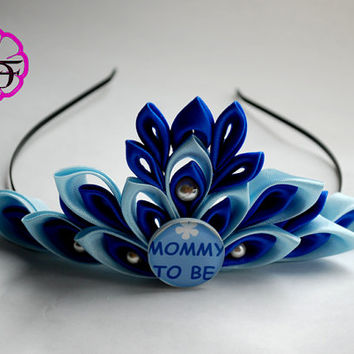 Baby shower crown , Mommy to be tiara , mommy to be corsage , Diaper cake topper , baby shower tiara , baby shower boy , baby shower blue
