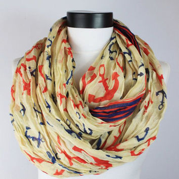 anchor cream scarf,infinity scarf, scarf, scarves, long scarf, loop scarf, gift