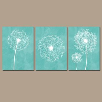 DANDELION NURSERY ART, Aqua Nursery Wall Art, Watercolor Dandelions, Canvas or Prints, Girl Bedroom Pictures, Aqua Bathroom Decor, Set of 3