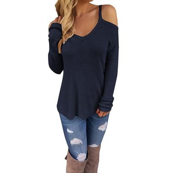 Women's Navy Blue Off Shoulder Casual Knitted Sweater