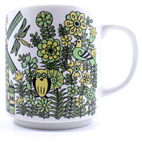 Ship Windmill Flower Birds Mug Coffee Tea Cup 8oz Vintage Japan Blue Green k477