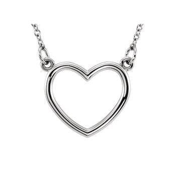 Polished 10mm Heart Necklace in 14k White Gold, 16 Inch