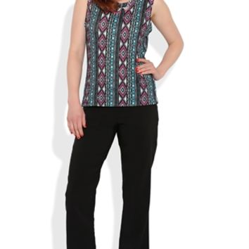 Dress Pants with Aztec Print Lining