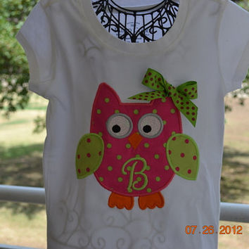 Owl Shirt with Monogram by RazzleDazzleMimi on Etsy