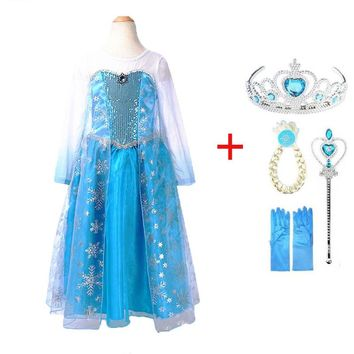 Girl Dresses Summer Brand Baby Kid Clothes Princess Anna Elsa Dress Snow Queen Cosplay Costume Party Children halloween Clothing