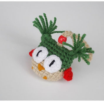 Christmas gift - Winter Bird Ornament - Hanging Owl Decoration - Warm Decoration - Cozy Winter Home Decor - Fabric Ornament - Red Green