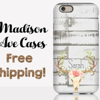 Deer Antler Name Shiplap Phone Case