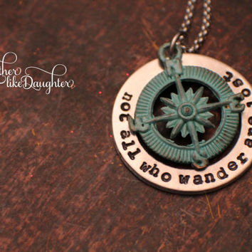 Hand Stamped Jewelry - Stamped Necklace - Not all who wander are lost - Inspirational Quote Valentine's Day