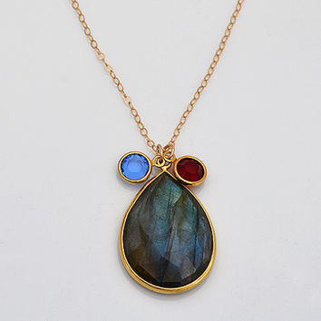 Large Natural Labradorite Gold bezel two birthstone crystals necklace - available in a variety of gemstones - children, kids, mother