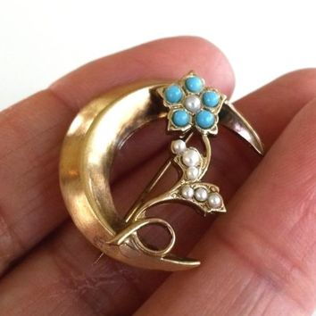 Vtg Victorian Revival Small Moon Flower Gold Tone Pin FauxTurquoise SeedPearl