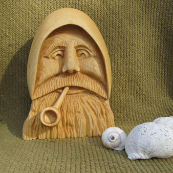 Nautical Carving Sea Captain Old Man of the Sea Hand Carved Sailor Mariner Beach Wall Decor Wall Hanging Shelf Decor Ocean Theme Beach Decor