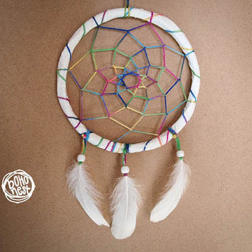 NEW YEAR SALE! - Dream Catcher - Colourful Life - With Rainbow Colourful Web and Pure White Feathers - Home Decor, Mobile