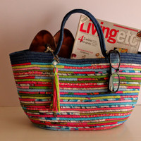 Blue/Pink/Lime Basket Bag, Multicolour Basketbag, Summer BohoChic Bag, Handmade Denim Bag