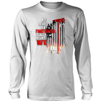 Men's Thin Red Line American Flag Firefighter Wife Long Sleeve T-shirt