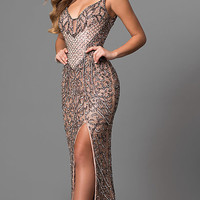 Long Keyhole V-Neck Sequin and Bead Prom Dress