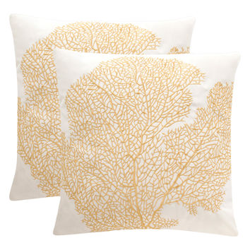 Safavieh Pillows Spice Fan Coral Pillows (Set of 2) - Gold