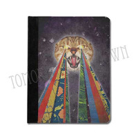"iPad 2 / 3 / 4 mini, Kindle Fire HD 8.9"" 7"" Nook color case book style cover - Psychedelic psycho Cat"