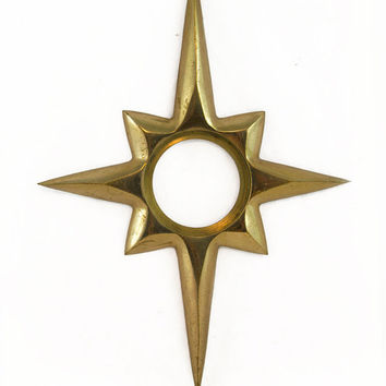 Vintage Brass Starburst Doorknob Escutcheon