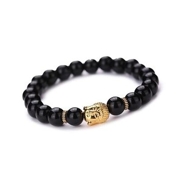 Women or Mens Buddha Elastic Beaded Bracelet Chain Charm Bracelets