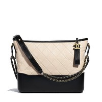 CHANEL'S GABRIELLE Hobo Bag, aged calfskin, smooth calfskin, silver-tone & gold-tone metal, beige & black - CHANEL