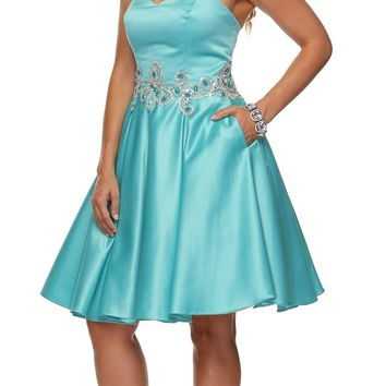 Juliet 769 Jade Embellished Waist Short Homecoming Dress Strapless