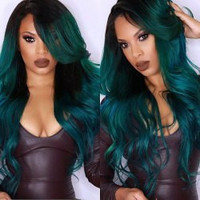 Wig Shaggy Wavy Blackish Green Synthetic Long Side Parting Wig For Women