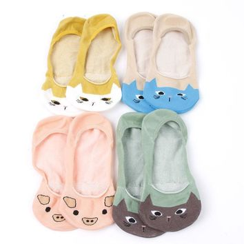Low Cut Cartoon Animal Pig Cat Socks Funny Crazy Cool Novelty Cute Fun Funky Colorful