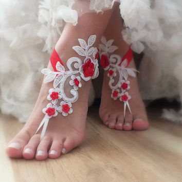Free Ship White 3D red flowers Beach wedding barefoot sandals, Flexible wrist lace sandals, Original design