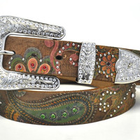 Nocona Ladies Western Paisley Print Rhinestone Brown Leather Belt