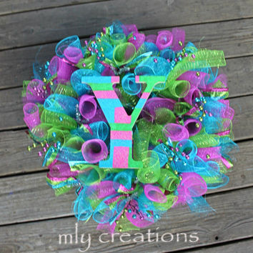 deco mesh christmas wreath, christmas wreath, initial wreath, non traditional, pink  blue wreath, whimsical wreath, unique christmas wreath