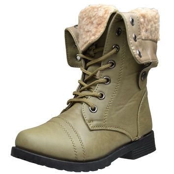 Kids Mid Calf Boots Fold Over Cuff Fur Lined Lace Up Combat Shoes Taupe SZ