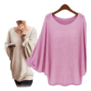 Women's Pink Exaggerated Sleeve Poncho Oversized T Shirts Top