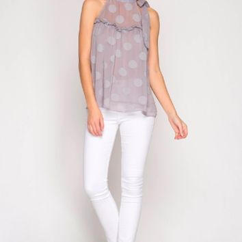 Womens' Sleeveless Textured Polka Dot Top with Neck Tie